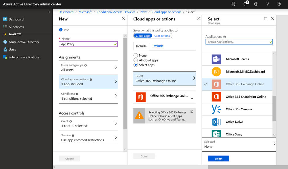Fig 1. App-based conditional access policy for access to Exchange Online.