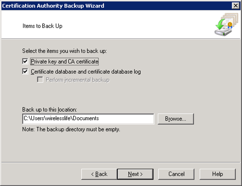 Certification Authority Backup Wizard Item Selection