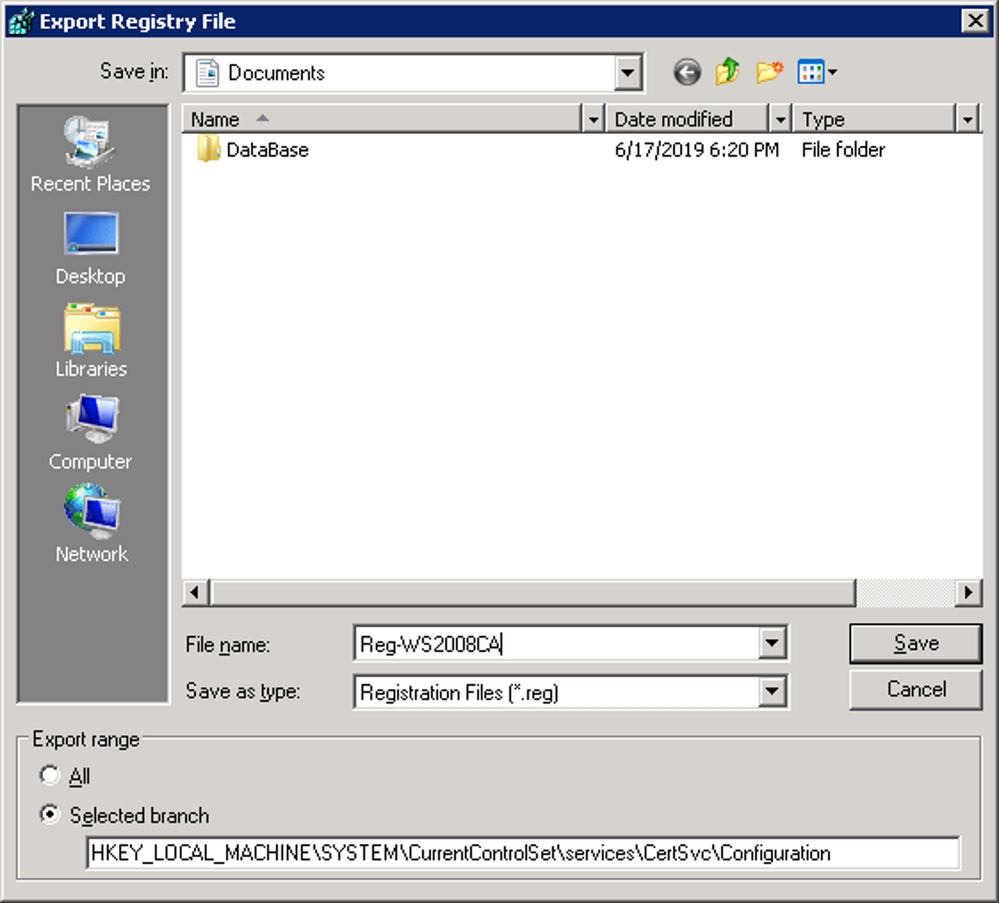 Backup CA Registry Settings