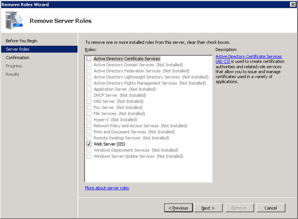 Removing Active Directory Certificate Services