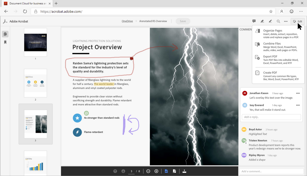 Adobe Acrobat PDF web tools, accessible from Microsoft SharePoint