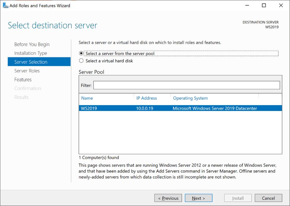 Windows Server 2019 Server Selections