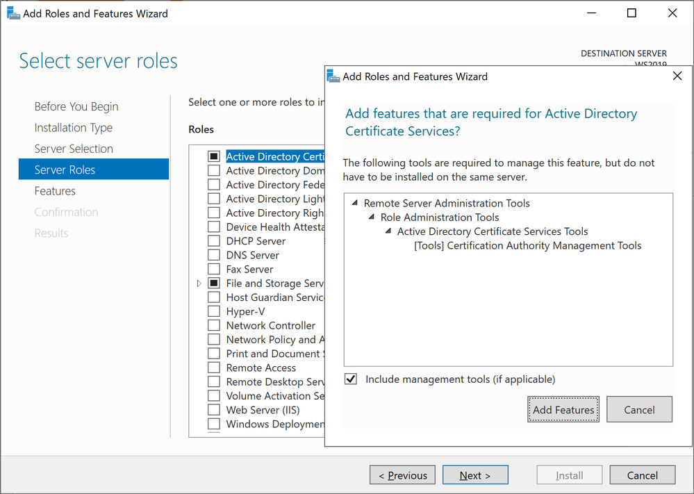 Adding Active Directory Certificate Services