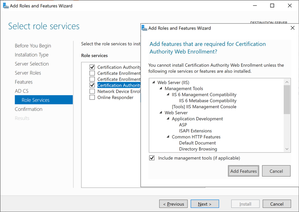 Windows Server 2019 Add Role Services