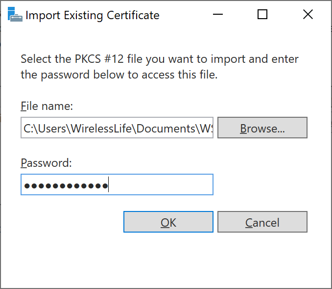 Import Existing Certificate