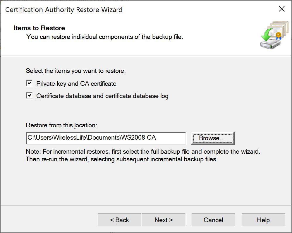 Certification Authority Restore Wizard
