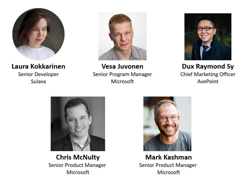 Left to right, top to bottom: Laura Kokkarinen – SharePoint, Office 365 and Azure senior developer (Sulava) [guest], Vesa Juvonen – principal program manager (Microsoft) [guest], Dux Raymond Sy – chief marketing officer (AvePoint) [guest], Chris McNulty – senior product manager (SharePoint/Microsoft) [co-host], and Mark Kashman – senior product manager (SharePoint/Microsoft) [co-host].