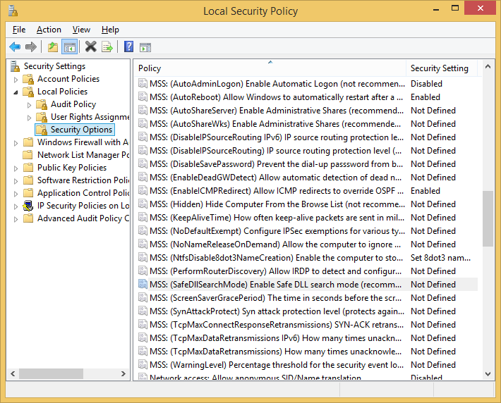 MSS settings in Security Options