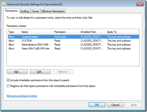 Registry permissions on Windows 7, writable only by TrustedInstaller
