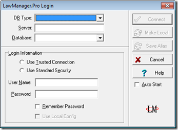 Law Manager login dialog - app working