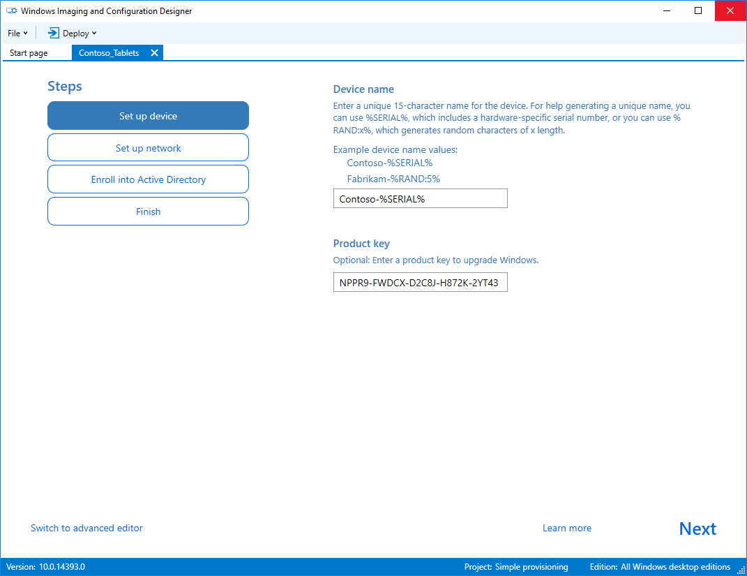 First screen of the WICD simple provisioning wizard asking where we can configure device name and product key
