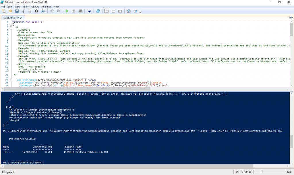 New Isofile powershell function screenshot