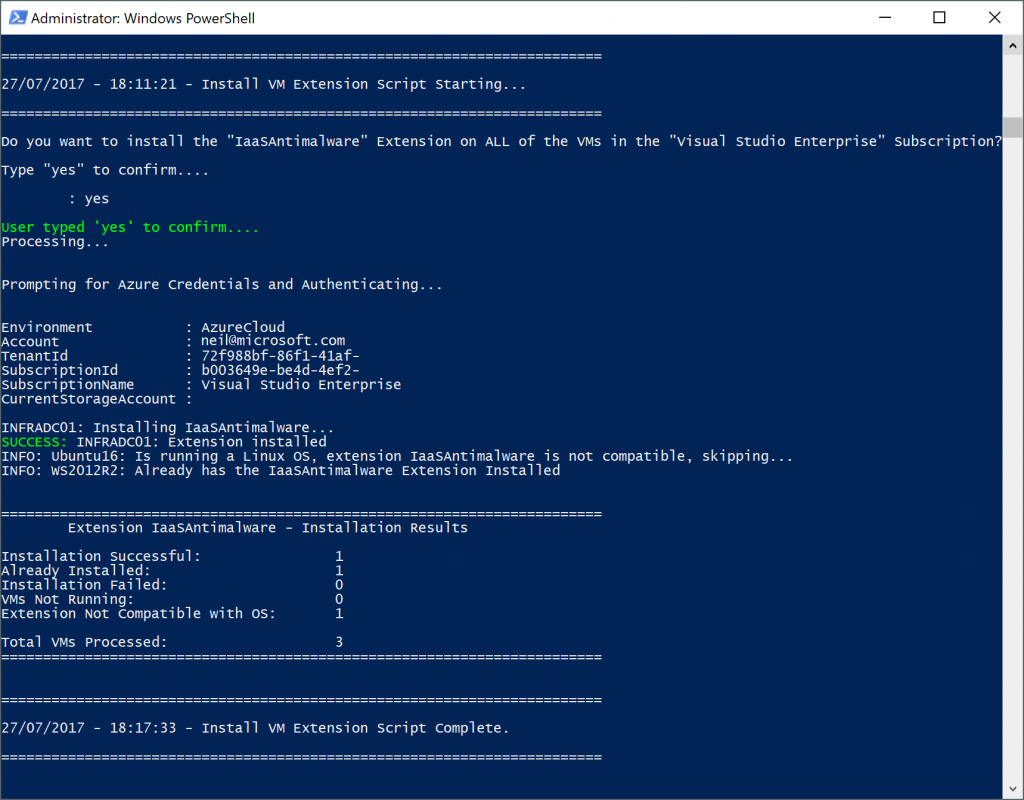Azure Resource Manager (ARM) - Automate Installation of VM Extensions using PowerShell and JSON