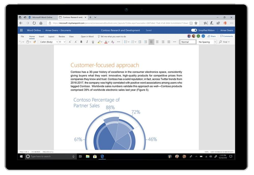 The Simplified Ribbon provides a more streamlined view of the feature menus when using Office on the web.