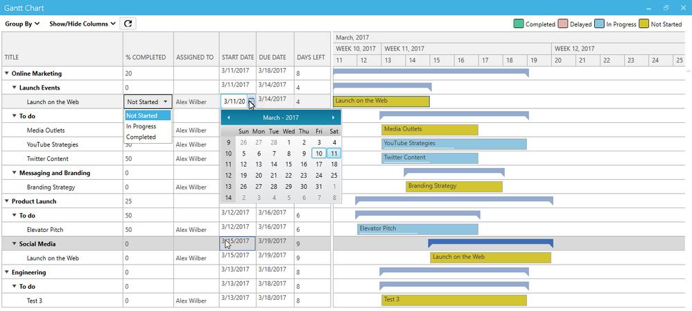 Gantt Chart for Planner