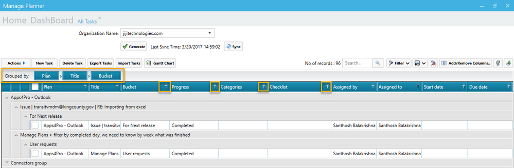 Planner Reports with Filters and Grouping