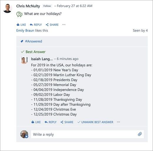 You can post questions in a Yammer group, and the question poster or any group admin can mark the best answer to a question.