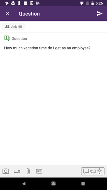 Ask a question from the Yammer app.