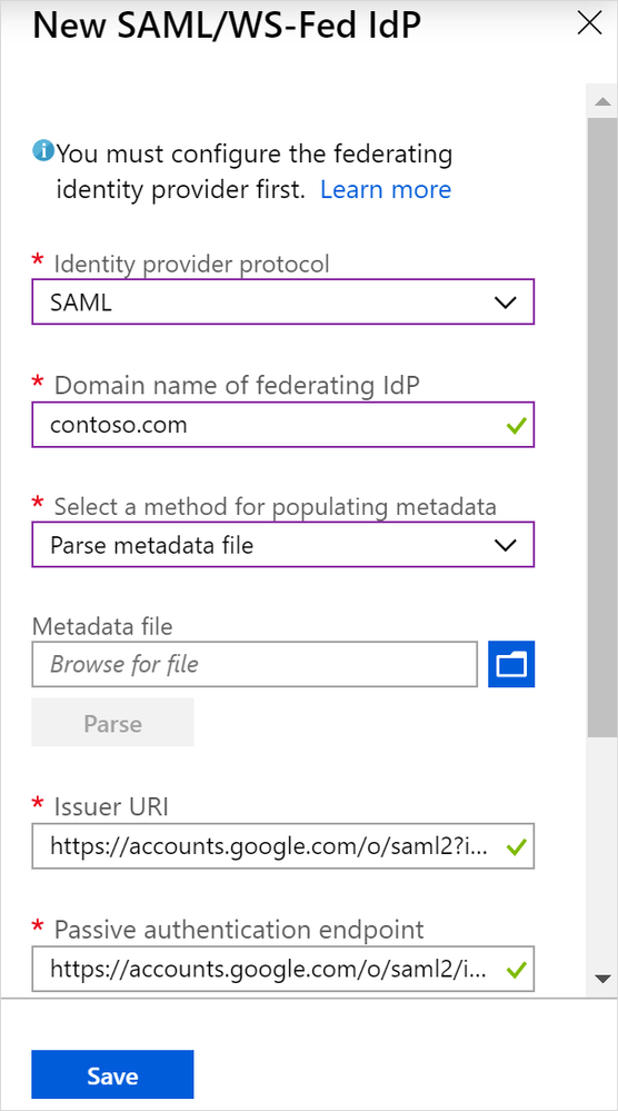 Figure 3. Populating direct federation metadata in Azure AD.