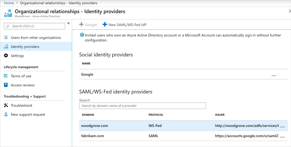 Figure 2. Setting up direct federation in Azure AD—Organizational relationships.