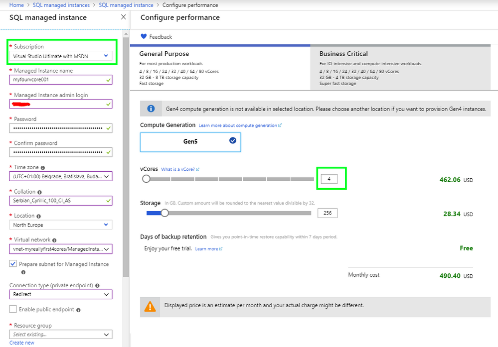 The 4 vCore SQL MI deployed on Visual Studio with MSDN subscription