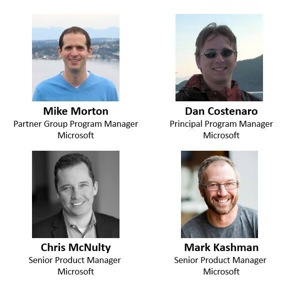 Left to right, top to bottom: Mike Morton – partner group program manager (Office Online/Microsoft) [guest], Dan Costenaro – principal program manager (Office Online/Microsoft) [guest], Chris McNulty – senior product manager (SharePoint/Microsoft) [co-host] and Mark Kashman – senior product manager (SharePoint/Microsoft) [co-host].