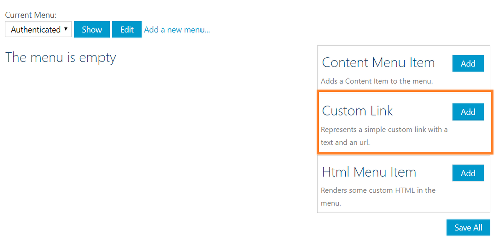 Add custom link to the newly added menu.png