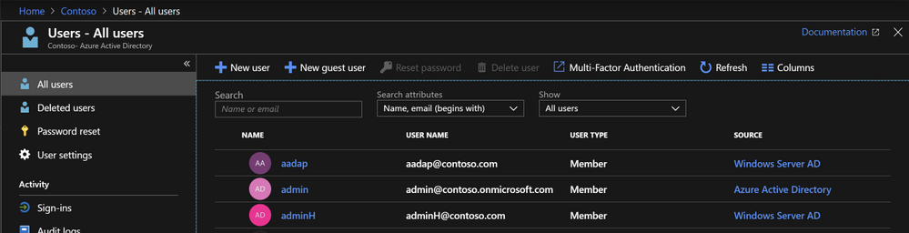 Locate where the Azure AD user is sourced.