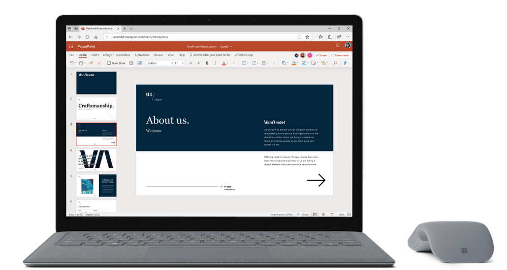 Microsoft PowerPoint for the web with an updated header.