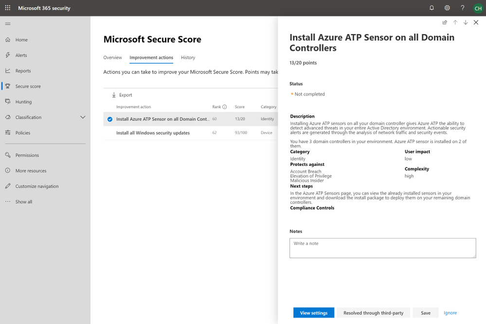 2019 - Blog 03 - Secure Score - Install Azure ATP Sensor on all Domain Controllers.png