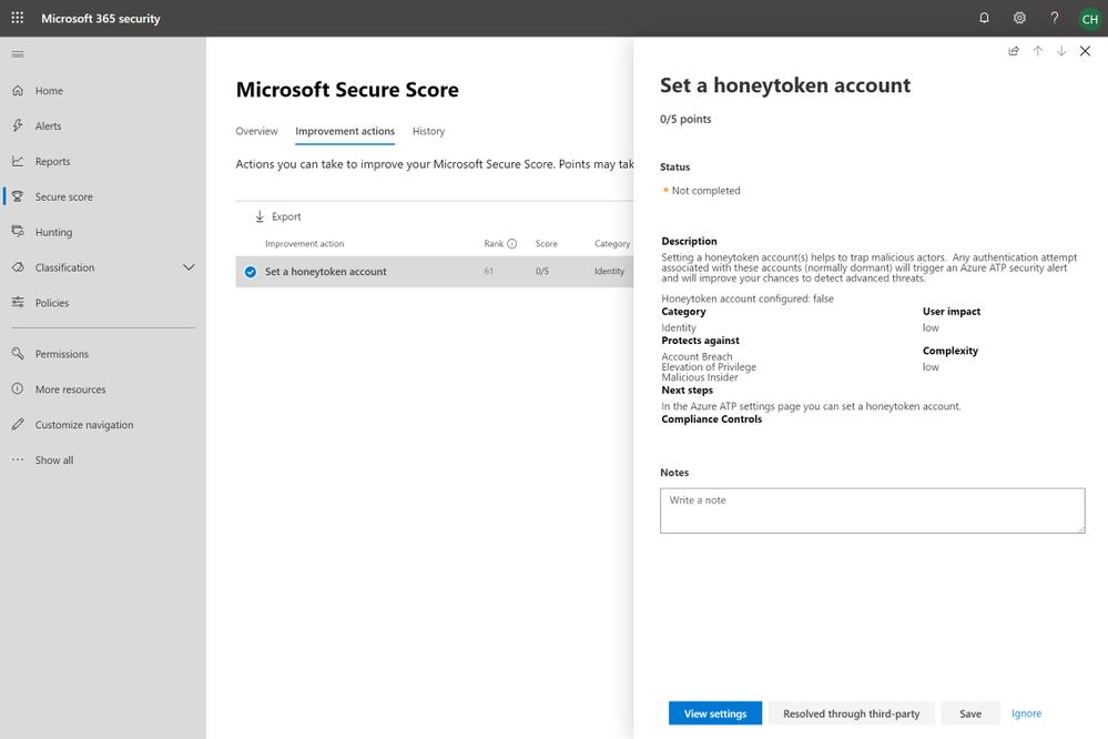 2019 - Blog 03 - Secure Score - Set a honeytoken account.png