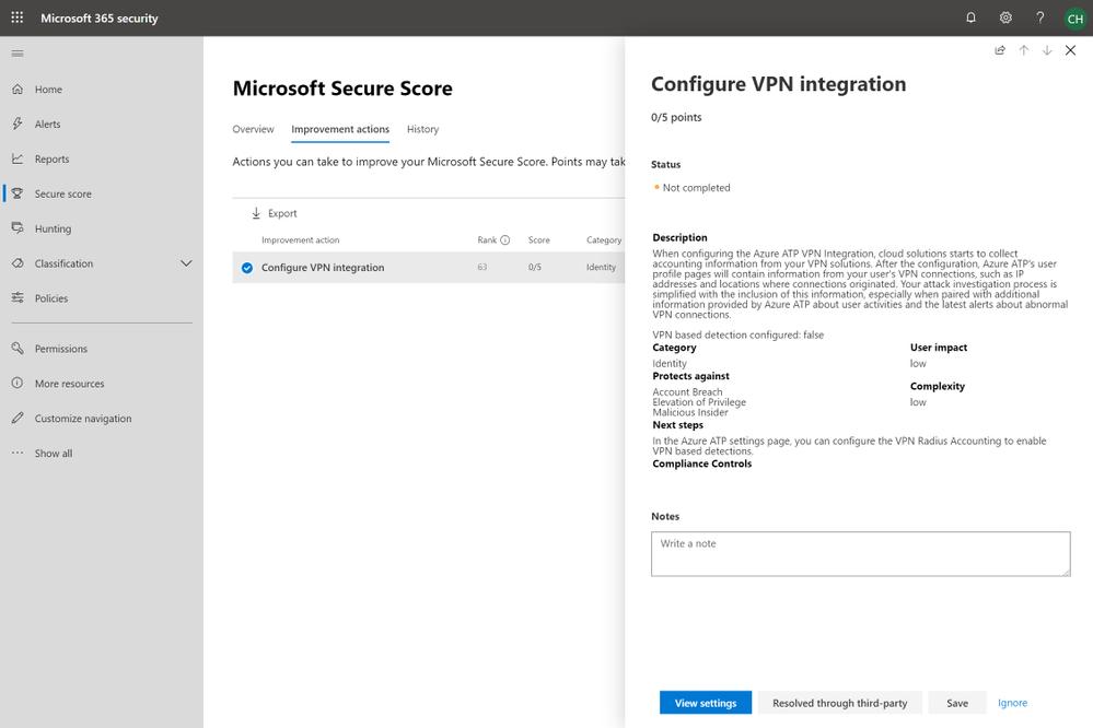 2019 - Blog 03 - Secure Score - Configure VPN integration.png