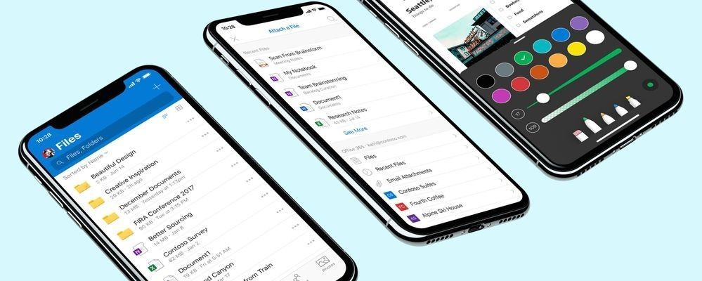 Use the OneDrive app for iOS to create and edit documents, scan receipts and business cards, markup and annotate PDFs, chat and co-author Office documents and share content with your peers.
