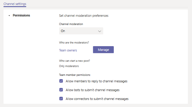 Channel moderation admin experience.