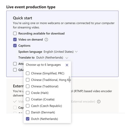Live event live caption language selection.