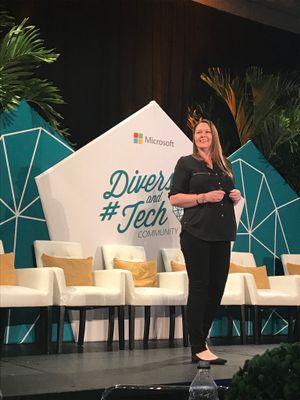 Sonia Cuff presenting on stage at Microsoft Ignite 2018