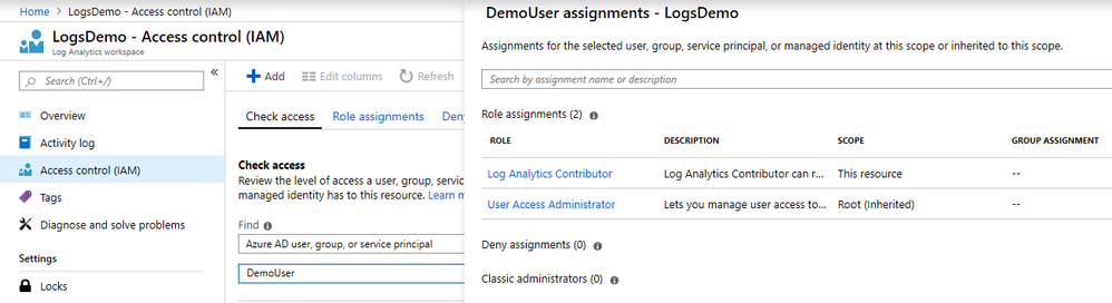 Azure portal - Log Analytics role assignments