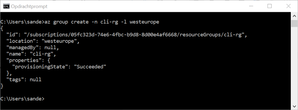 A resource group created using CLI