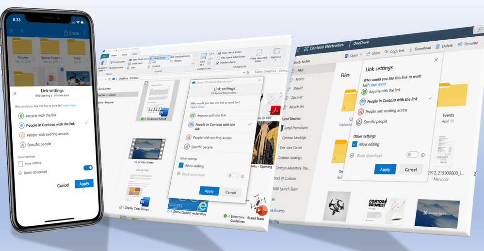 OneDrive supports consistent sharing experience across mobile, desktop and web.