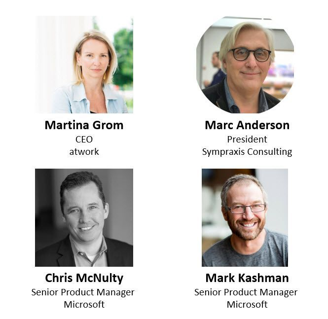 Left to right, top to bottom: Martina Grom – CEO (MVP/atwork) [guest], Marc Anderson – president (MVP/Sympraxis Consulting) [guest], Chris McNulty – senior product manager (SharePoint/Microsoft) [co-host] and Mark Kashman – senior product manager (SharePoint/Microsoft) [co-host].