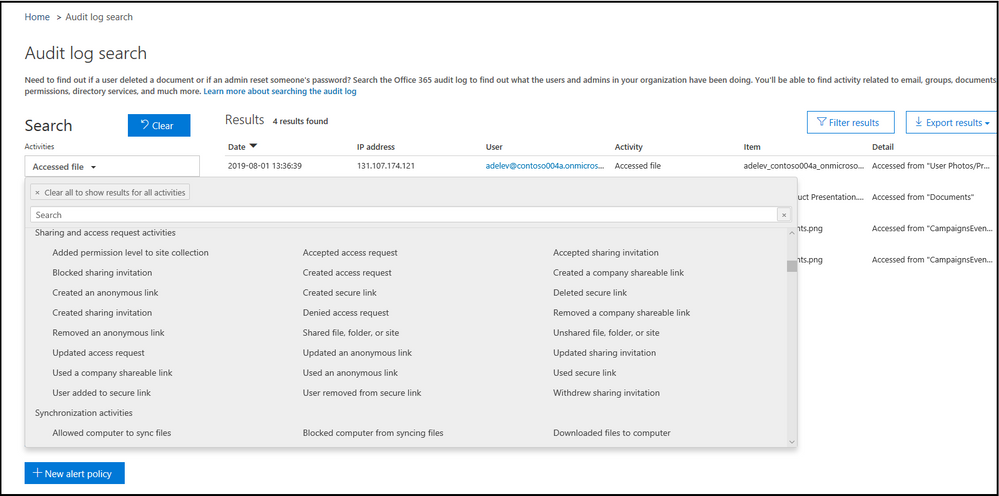 Search audit logs to view and monitor user and admin activity.