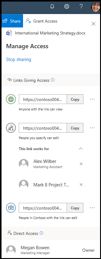 Easily manage access, add and remove individual users on shared links or stop sharing .