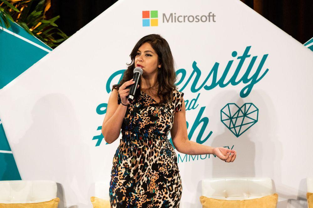 Microsoft Head of Windows Insider Program Dona Sarkar speaks on the Microsoft Ignite Diversity and Tech track in 2018