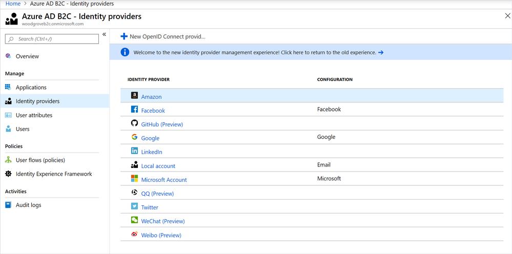 OpenID Connect identity provider configuration in the Azure portal.