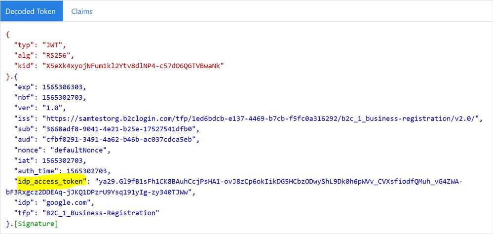 Identity provider access token in an Azure AD B2C token.