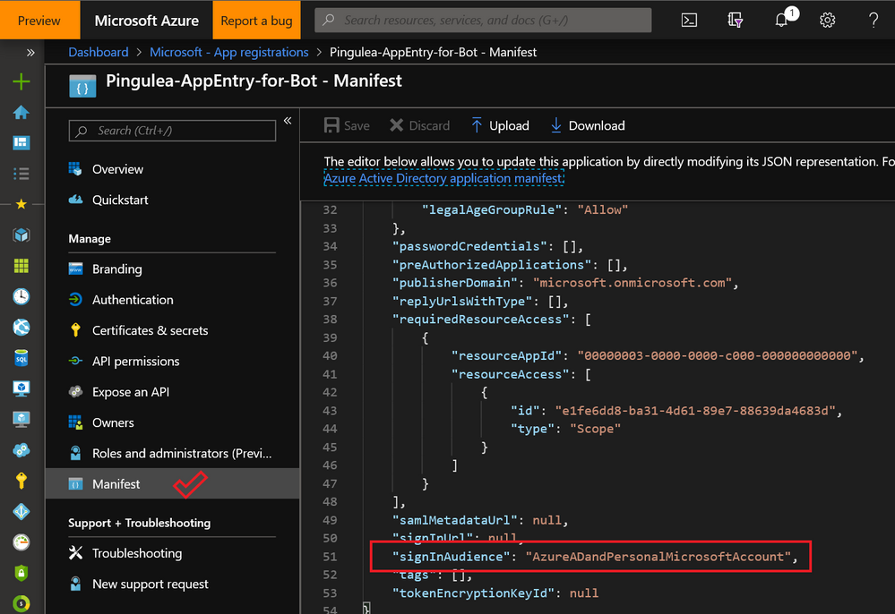 Manifest for a proper app registration with multi-tenant account