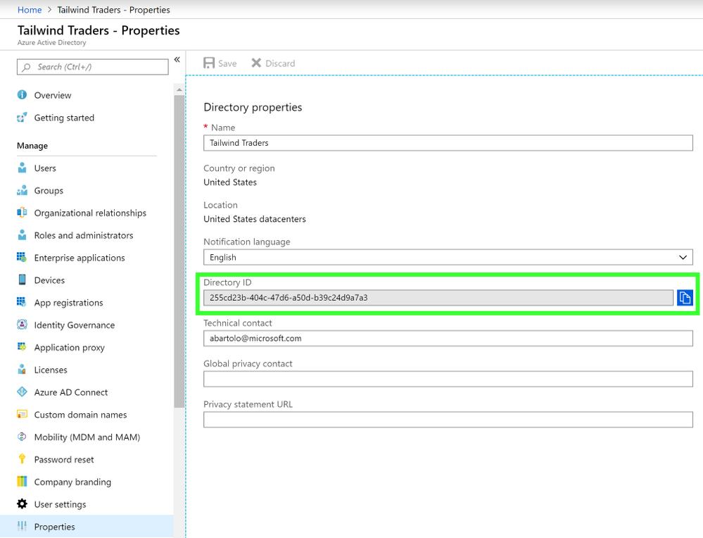 Azure Active Directory TenantId
