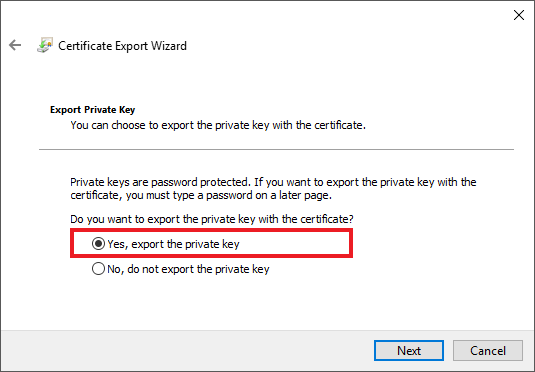 A certificate needs its private key to be usable for HTTPS