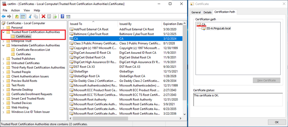 Both client and server should trust the certification chain. Issuing root and intermediate certification autorities