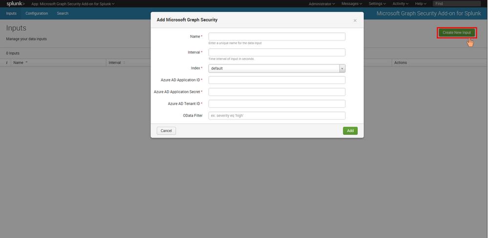 Add-on input configuration
